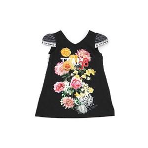 Vestido Infantil / Kids Em Crepe Com Estampa Frontal E  Detalhe Lateral Em Gorgurão - Um Mais Um Preto