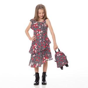 Vestido Infantil / Kids Em Crepe Com Lycra Estampado - Um Mais Um Preto