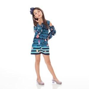 Vestido Infantil / Kids Em Crepe Estampado - Um Mais Um Marinho