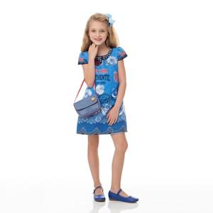 Vestido Infantil / Kids Em Crepe Sarjado Alfaiataria Estampado - Um Mais Um Azul