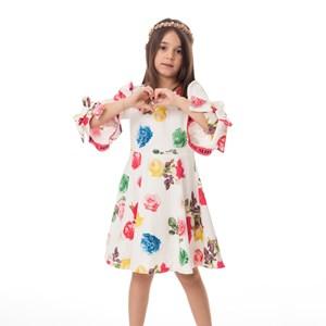 Vestido Infantil / Kids Em Crepe Sarjado Alfaiataria Estampado - Um Mais Um Pink