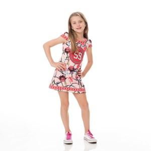 Vestido Infantil / Kids Em Crepe Sarjado Alfaiataria Estampado - Um Mais Um Rosa Claro