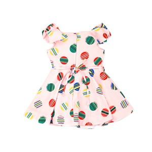 Vestido Infantil / Kids Em Crepe Sarjado Com Lycra Estampado - Um Mais Um Rosa Claro