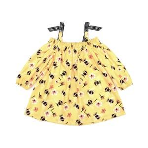 Vestido Infantil / Kids Em Crepe Voil De Poliester Estampado - Beaba Amarelo Canario