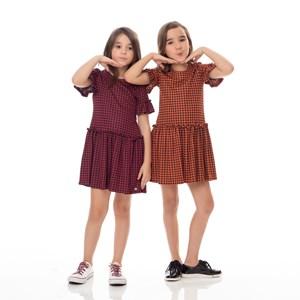 Vestido Infantil / Kids Em Jacquard Com Piel D´Poule - Um Mais Um Vinho