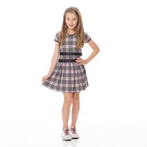 Vestido Infantil / Kids Em Jacquard - Um Mais Um Preto