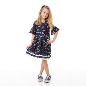 Vestido Infantil / Kids Em Malha Casinha De Abelha Estampado - Um Mais Um Marinho