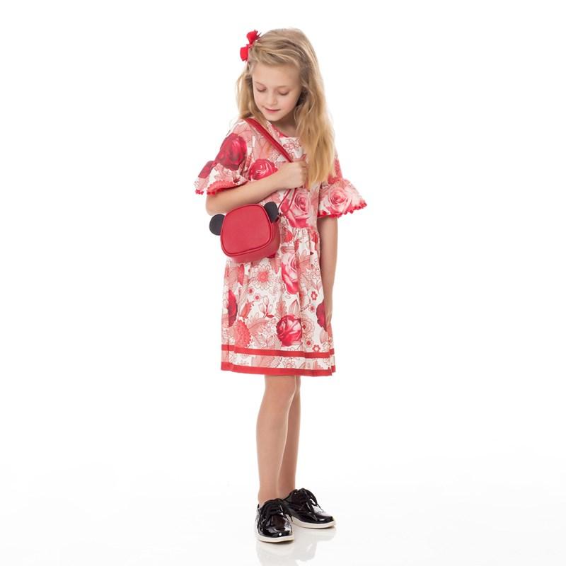Vestido Infantil / Kids Em Malha Casinha De Abelha Estampado - Um Mais Um Vermelho
