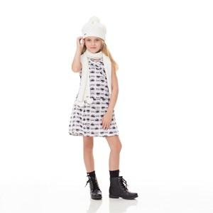 Vestido Infantil / Kids Em Malha Creponada Com Elastano Estampado - Um Mais Um Cru