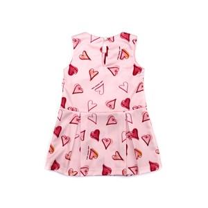 Vestido Infantil / Kids Em Malha Creponada Com Elastano Estampado - Um Mais Um Rosa Claro