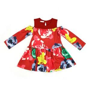 Vestido Infantil / Kids Em Malha Creponada Com Elastano Estampado - Um Mais Um Vermelho