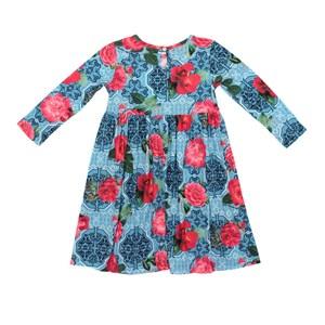 Vestido Infantil / Kids Em Malha De Poliester Com Lycra - Um Mais Um Azul Claro