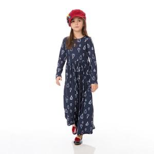 Vestido Infantil / Kids Em Malha De Poliester Com Lycra - Um Mais Um Marinho