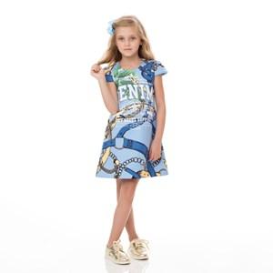 Vestido Infantil / Kids Em Malha Neoprene Estampado - Um Mais Um Azul Claro