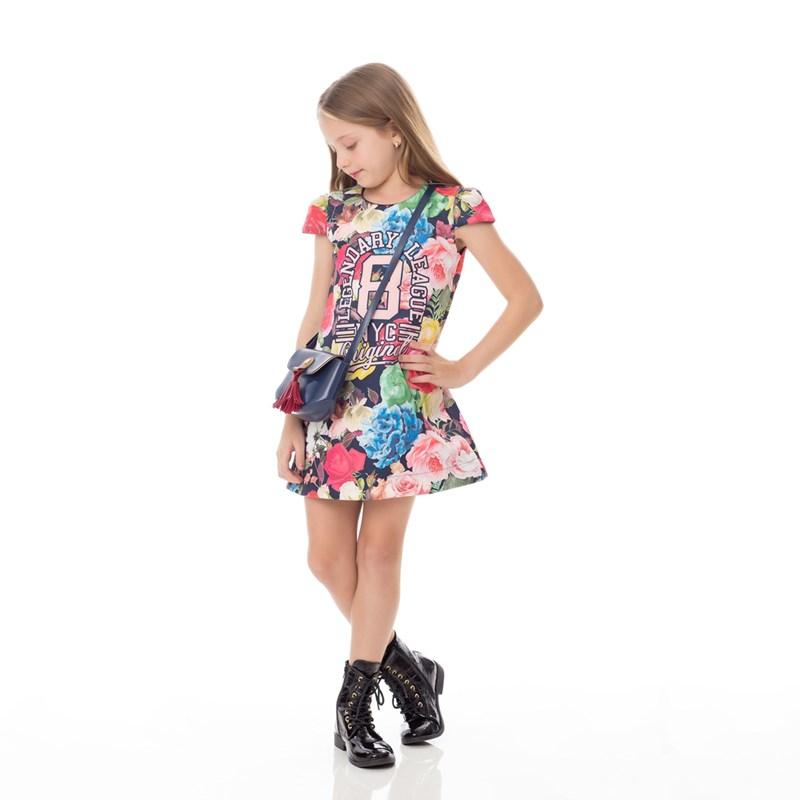 Vestido Infantil / Kids Em Malha Neoprene Estampado - Um Mais Um Marinho