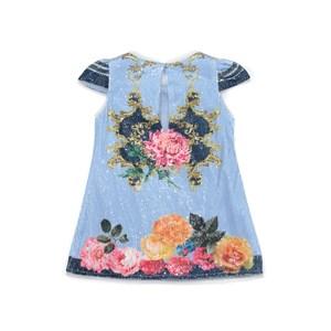 Vestido Infantil / Kids Em Malha Paete  Estampado - Um Mais Um Azul Claro