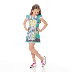 Vestido Infantil / Kids Em Malha Paete  Estampado - Um Mais Um Verde
