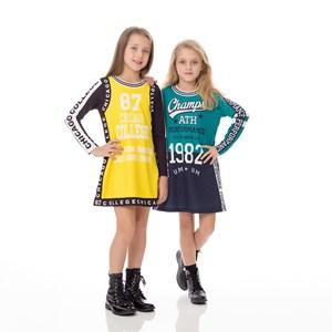 Vestido Infantil / Kids Em Moletinho Com Lycra  Estampado - Um Mais Um Amarelo Canario