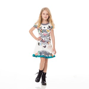 Vestido Infantil / Kids Em Moletinho Com Lycra Estampado - Um Mais Um Cru