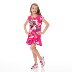 Vestido Infantil / Kids Em Moletinho Com Lycra Estampado - Um Mais Um Pink