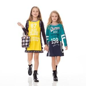 Vestido Infantil / Kids Em Moletinho Com Lycra  Estampado - Um Mais Um Verde