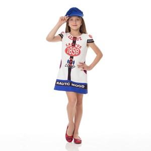Vestido Infantil / Kids Em Neoprene Estampado - Um Mais Um Azul