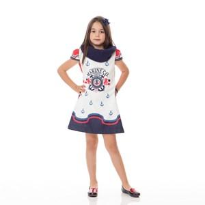 Vestido Infantil / Kids Em Neoprene Estampado - Um Mais Um Marinho