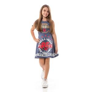 Vestido Infantil / Kids Em Neoprene Liso Com Aplique De Lantejoula - Um Mais Um Marinho