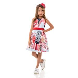 Vestido Infantil / Kids Em Neoprene Liso E Trcioline Para Forro - Um Mais Um Azul Claro