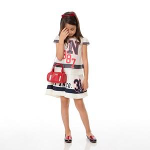 Vestido Infantil / Kids Em Organza Com Saia Em Crepe Sarjado Alfaiataria Com Estampa Frontal - Um Ma Marinho