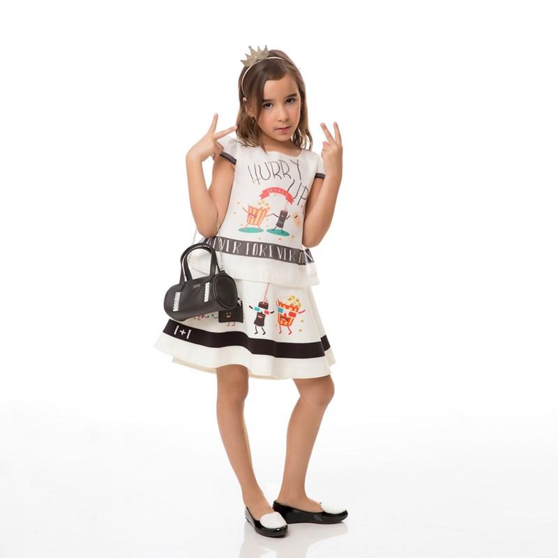 Vestido Infantil / Kids Em Organza Com Saia Em Crepe Sarjado Alfaiataria Com Estampa Frontal - Um Ma Preto