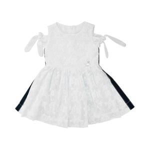 Vestido Infantil / Kids Em Organza Engomada Com Tule Com Bordado - Um Mais Um Branco