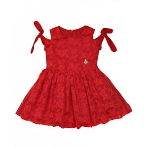 Vestido Infantil / Kids Em Organza Engomada Com Tule Com Bordado - Um Mais Um Vermelho