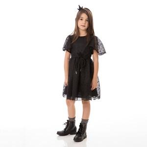 Vestido Infantil / Kids Em Renda Swiss Com Corneli E Cinto Em Tricoline Tropical - Um Mais Um Preto