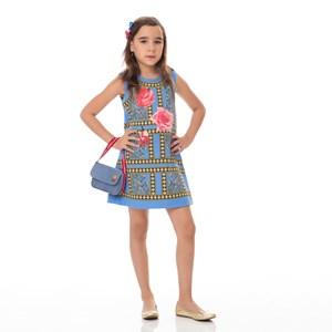 Vestido Infantil / Kids Em Sarja Alfaiataria Com Lycra Estampado - Um Mais Um Azul