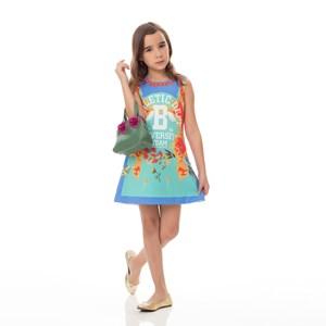 Vestido Infantil / Kids Em Sarja Alfaiataria Com Lycra Estampado - Um Mais Um Verde