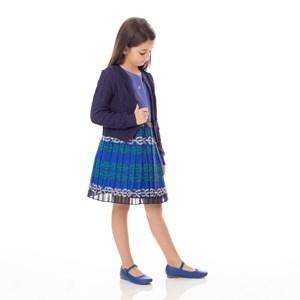 Vestido Infantil / Kids Em Shantung  Com Saia Em Organza Plissada Estampada Com Plissado - Um Mais U