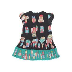 Vestido Infantil / kids em voal com poliester rustic flame estampado com saia plissada - um mais um PRETO