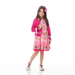 Vestido Infantil / kids em voal com poliester rustic flame estampado e cinto em gorgurão - um mais u ROSA CLARO