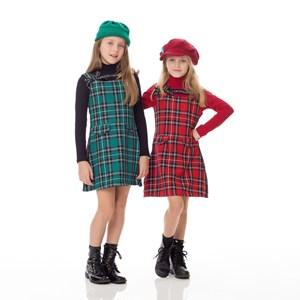 Vestido Infantil / Kids Em Xadrez Sarjado E Detalhe Lateral Em Cadarço - Um Mais Um Vermelho