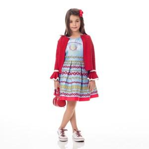 Vestido Infantil / Kids Em Zibeline Sarja Acetinada Estampado - Um Mais Um Azul Claro