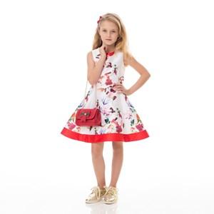 Vestido Infantil / Kids Em Zibeline Sarja Acetinada Estampado - Um Mais Um Cru