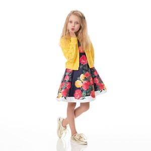Vestido Infantil / Kids Em Zibeline Sarja Acetinada Estampado - Um Mais Um Marinho
