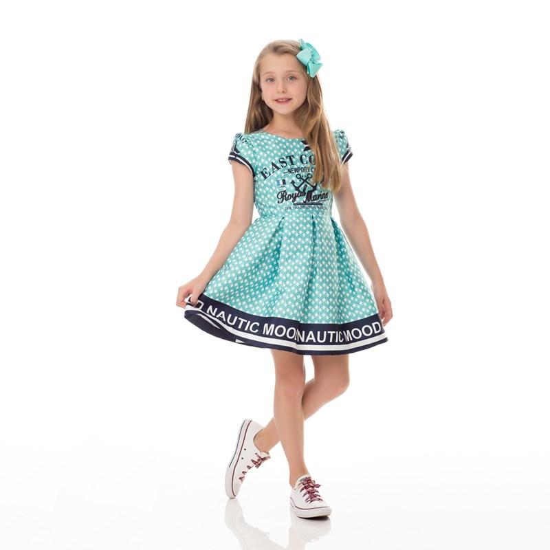 Vestido Infantil / Kids Em Zibeline Sarja Acetinada Estampado - Um Mais Um Verde