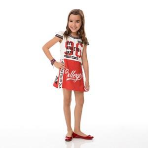 Vestido Infantil/Kids Feminino Em Crepe Com Lycra - Um Mais Um Vermelho