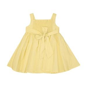 Vestido Infantil Liso Com Ccintura Franzida Saia Godê E Bordado Amarelo Canario