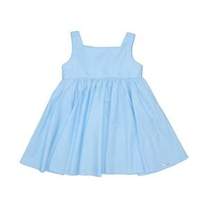 Vestido Infantil Liso Com Ccintura Franzida Saia Godê E Bordado Azul Claro