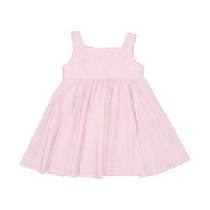 Vestido Infantil Liso Com Ccintura Franzida Saia Godê E Bordado Rosa Claro