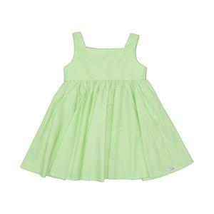 Vestido Infantil Liso Com Ccintura Franzida Saia Godê E Bordado Verde Agua