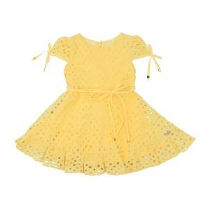 Vestido Infantil Manga Copinho E Barra Pregueada Com Cinto Rolitê Ponteiras De Coração Amarelo Canar